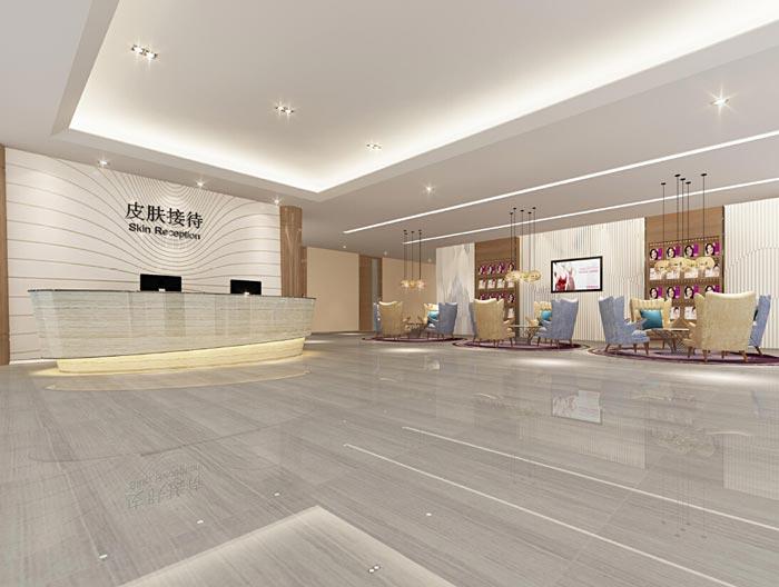 850平方中型美容医院前台装修设计案例效果图